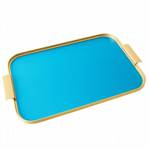 Kaymet Tray - Diamond Ribbed - Turquoise & Gold